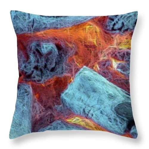 Fire Art Throw Pillow featuring the digital art Coals And Embers by Ron Bissett
