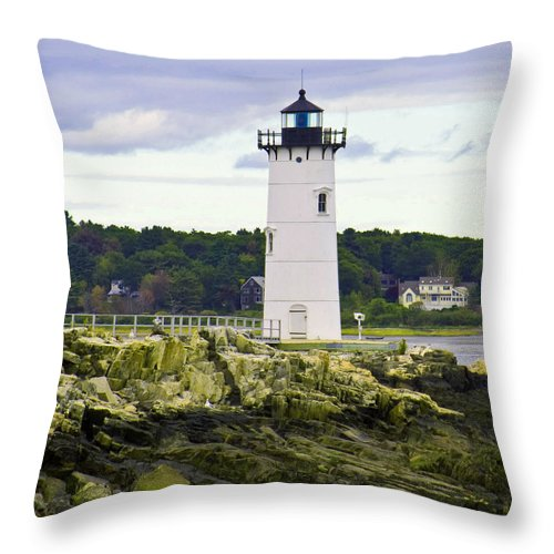 Light House Throw Pillow featuring the photograph Coast Guard Light by Gerald Mitchell