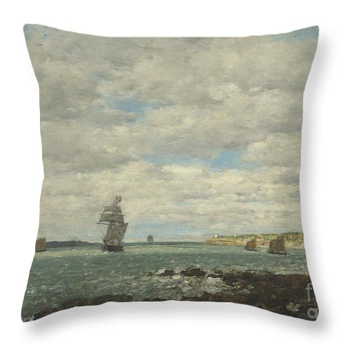 Throw Pillow featuring the painting Coast Of Brittany by Eug?ne Boudin