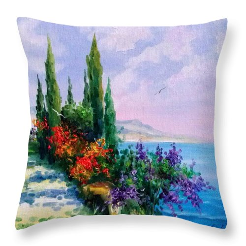 Coast Oil Painting On Canvas On Cardboard Throw Pillow featuring the painting Coast by Olha Darchuk