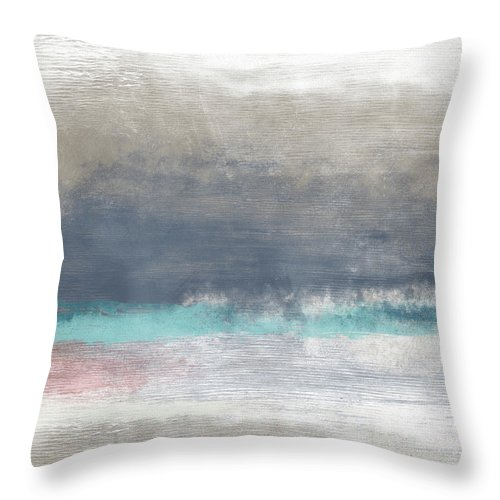Coastal Throw Pillow featuring the mixed media Coastal Escape-abstract Art By Linda Woods by Linda Woods