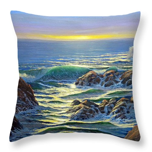 Coastal Evening Throw Pillow featuring the painting Coastal Evening by Frank Wilson