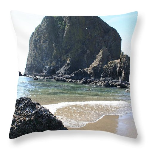 Coastal Landscape Throw Pillow featuring the photograph Coastal Landscape - Cannon Beach Afternoon - Scenic Lanscape by Quin Sweetman