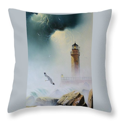 Lighthouse Throw Pillow featuring the painting Coastal Light by Don Griffiths
