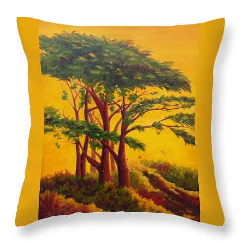 Trees Throw Pillow featuring the painting Coastal Morning by Nancy Jolley