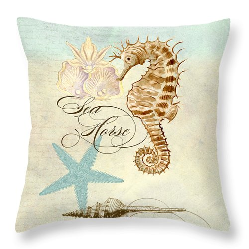 Watercolor Throw Pillow featuring the painting Coastal Waterways - Seahorse Rectangle 2 by Audrey Jeanne Roberts