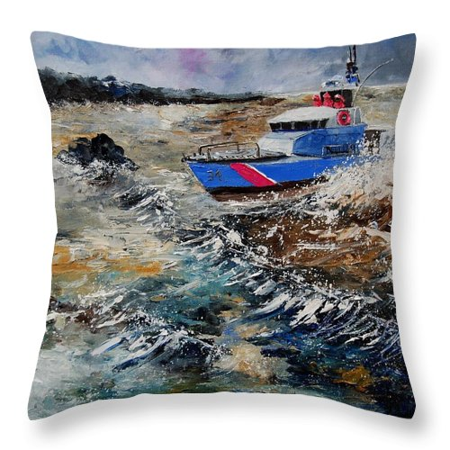 Sea Throw Pillow featuring the painting Coastguards by Pol Ledent