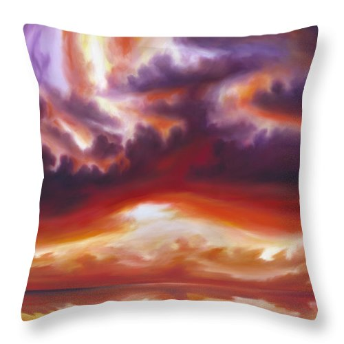 Skyscape Throw Pillow featuring the painting Coastline by James Christopher Hill
