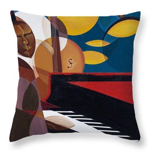 Kaaria Throw Pillow featuring the painting Cobalt Jazz by Kaaria Mucherera