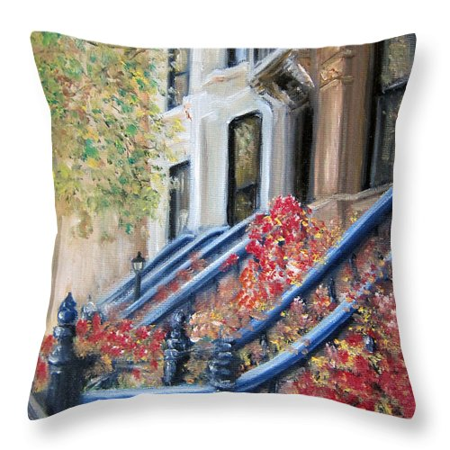 Ny City Throw Pillow featuring the painting Cobble Hill by Leonardo Ruggieri
