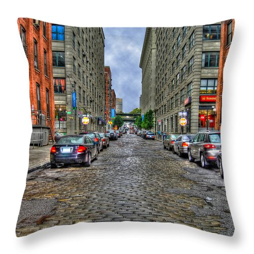 Cobblestone Throw Pillow featuring the photograph Cobblestone Brooklyn From Dumbo by Randy Aveille