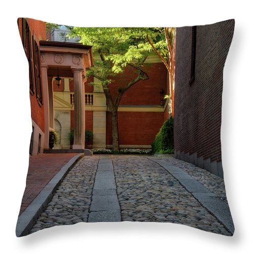 Beacon Hill Throw Pillow featuring the photograph Cobblestone Drive by Michael Hubley