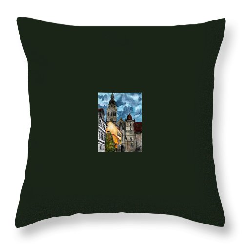 Germany Throw Pillow featuring the painting Coburg Germany Castle Painting Art Print by Derek Mccrea