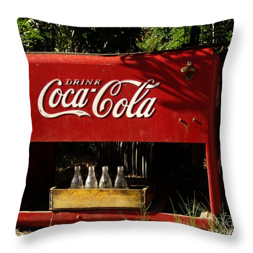 Coke Throw Pillow featuring the photograph Coca-cola by Carol Milisen