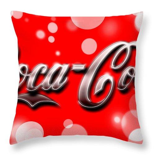 Coca Cola Electric Bokeh Throw Pillow featuring the mixed media Coca Cola Electric Bokeh by Dan Sproul