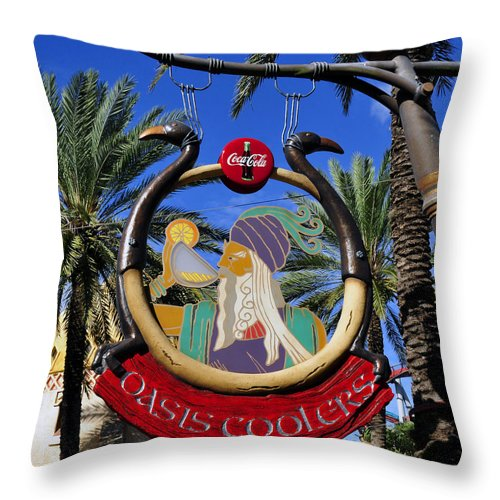 Coca Cola Throw Pillow featuring the photograph Coca Cola Oasis Coolers by David Lee Thompson