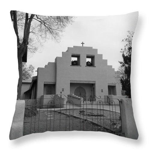 Architecture Throw Pillow featuring the photograph Cochiti Church by Rob Hans