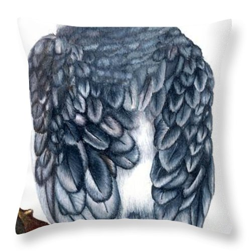 Cockatiel Throw Pillow featuring the drawing Cockatiel 1 by Kristen Wesch