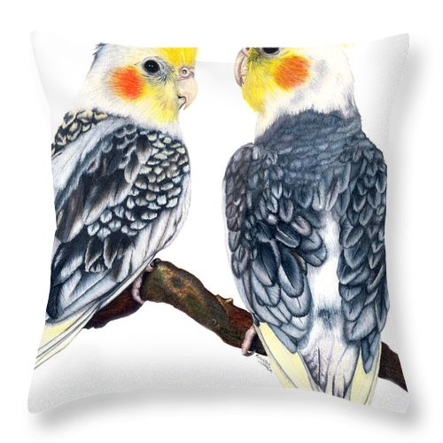 Cockatiel Throw Pillow featuring the drawing Cockatiels by Kristen Wesch