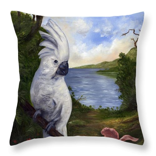 Landscape Throw Pillow featuring the painting Cockatoo And Orchid by Anne Kushnick