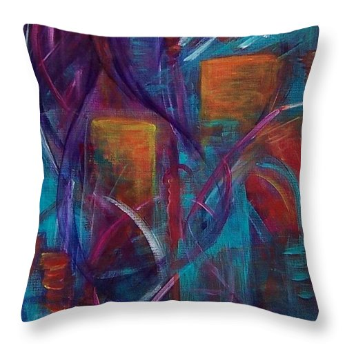 Abstract Throw Pillow featuring the painting Cocktails For Two by Karen Day-Vath