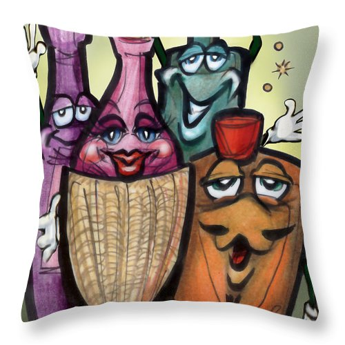 Cocktail Throw Pillow featuring the greeting card Cocktails by Kevin Middleton