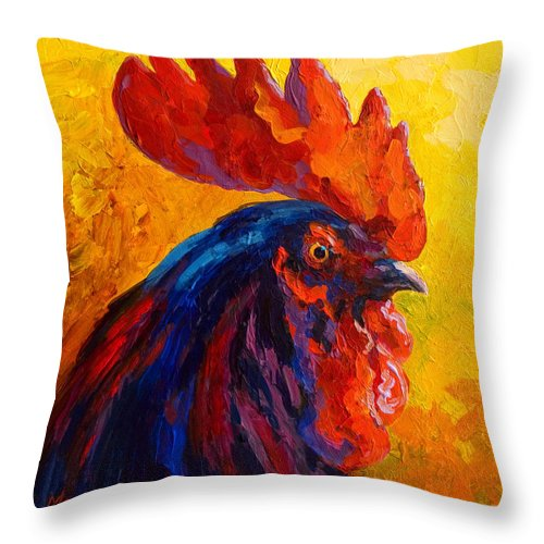Rooster Throw Pillow featuring the painting Cocky - Rooster by Marion Rose