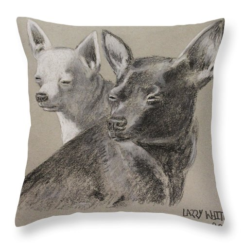 Chihuahua Throw Pillow featuring the drawing Coco And Rudy by Larry Whitler