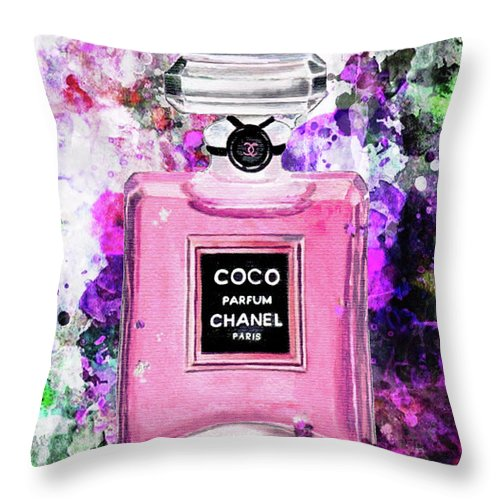 Chanel Art Print Throw Pillow featuring the painting Coco Chanel Parfume Pink by Del Art
