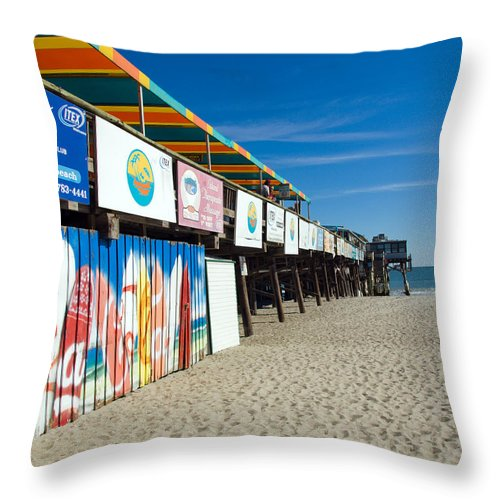Florida; Cocoa; Beach; Atlantic; Ocean; East; Space; Coast; Brevard; Central; Pier; Surf; Surfing; F Throw Pillow featuring the photograph Cocoa Beach Flotida by Allan Hughes