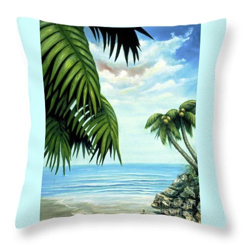 Beverly-fuqua Artwork Throw Pillow featuring the painting Coconut Cove by Beverly Fuqua