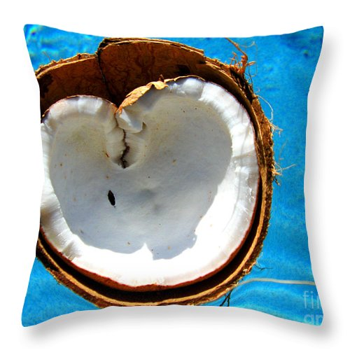 Coconut Throw Pillow featuring the photograph Coconut Heart by Jaison Cianelli