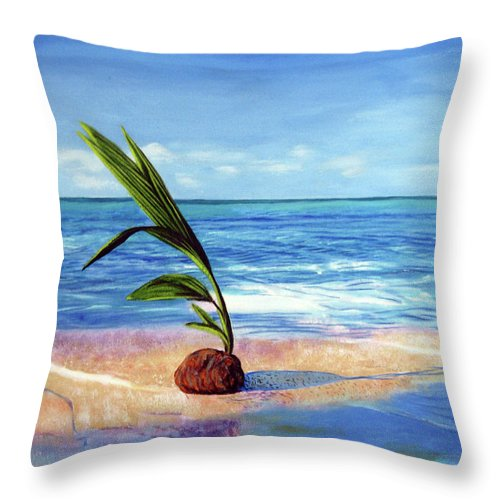 Ocean Throw Pillow featuring the painting Coconut on beach by Jose Manuel Abraham