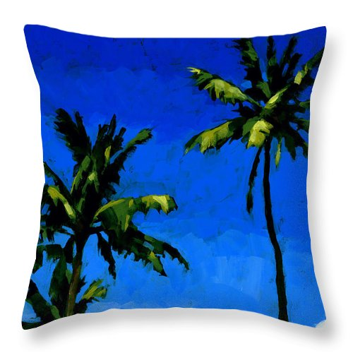 Palms Throw Pillow featuring the painting Coconut Palms 5 by Douglas Simonson