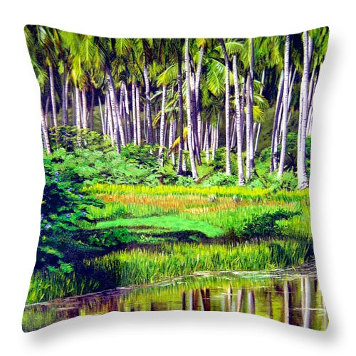 Coconuts Water River Green Art Tropical Throw Pillow featuring the painting Coconuts Trees by Jose Manuel Abraham