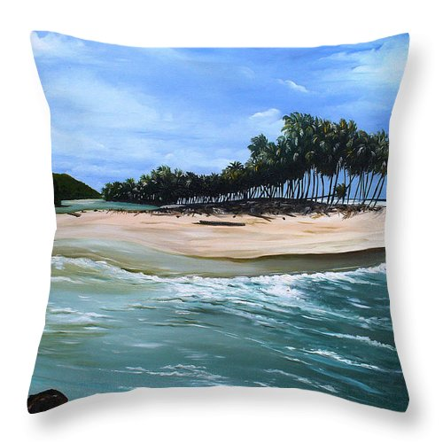 Ocean Paintings Sea Scape Paintings  Beach Paintings Palm Trees Paintings Water Paintings River Paintings  Caribbean Paintings  Tropical Paintings Trinidad And Tobago Paintings Beach Paintings Throw Pillow featuring the painting Cocos Bay Trinidad by Karin Dawn Kelshall- Best