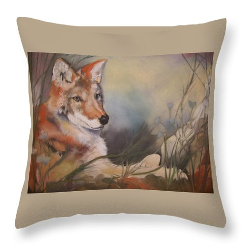 Coyote Throw Pillow featuring the pastel Cody by Marika Evanson