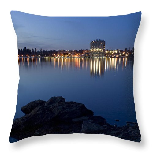 Skyline Throw Pillow featuring the photograph Coeur D Alene Skyline Night by Idaho Scenic Images Linda Lantzy
