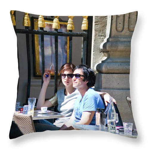 Cafe Throw Pillow featuring the photograph Coffee And Cigarettes by Sam Gish