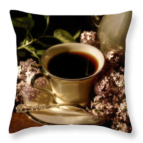 Coffee Throw Pillow featuring the photograph Coffee And Lilacs In The Morning by Lois Bryan