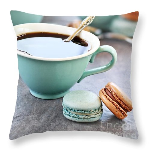 Macaron Throw Pillow featuring the photograph Coffee And Macarons by Stephanie Frey