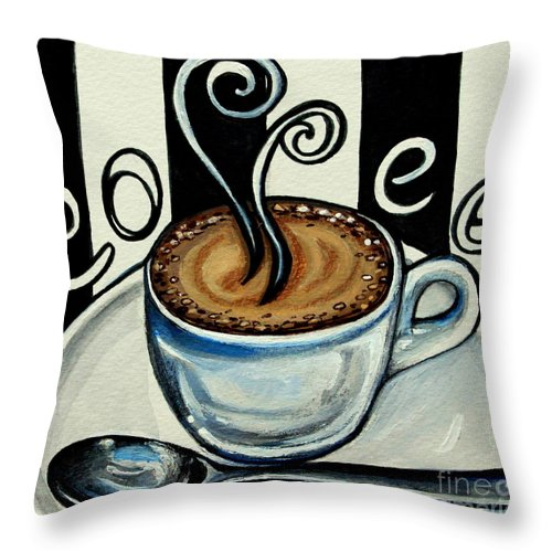Coffee Throw Pillow featuring the painting Coffee At The Cafe by Elizabeth Robinette Tyndall
