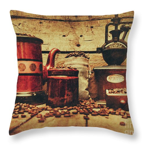 Beverage Throw Pillow featuring the photograph Coffee Bean Grinder Beside Old Pot by Jorgo Photography - Wall Art Gallery