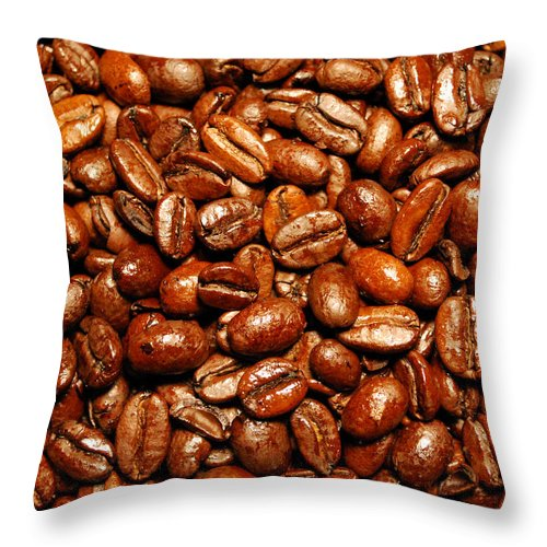 Coffee Throw Pillow featuring the photograph Coffee Beans by Nancy Mueller