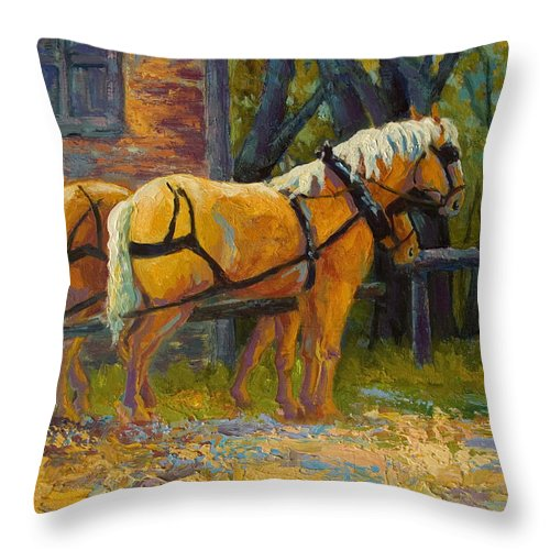 Horses Throw Pillow featuring the painting Coffee Break - Draft Horse Team by Marion Rose