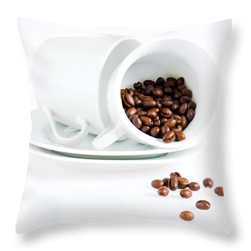 Background Throw Pillow featuring the photograph Coffee Cups And Coffee Beans by U Schade