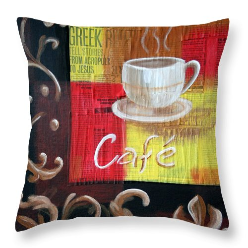 Coffee Throw Pillow featuring the painting Coffee by Maryn Crawford