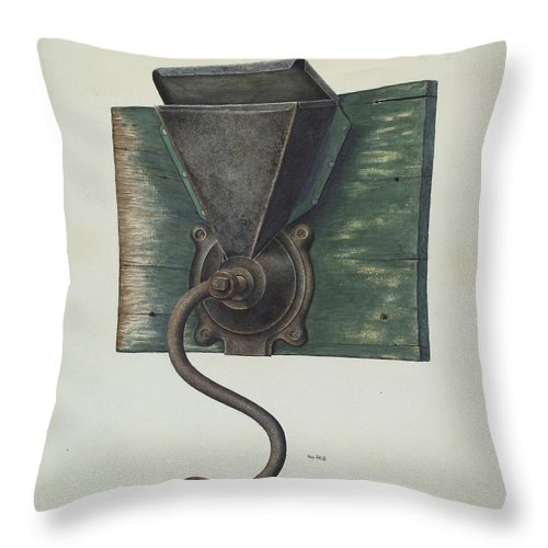 Throw Pillow featuring the drawing Coffee Mill by Ray Price