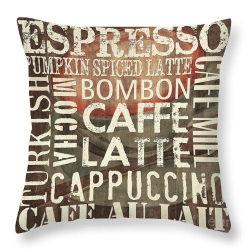 Coffee Throw Pillow featuring the painting Coffee Of The Day 2 by Debbie DeWitt