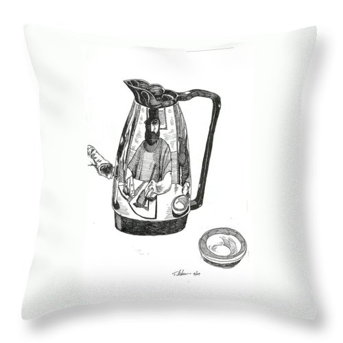 Pen And Ink Throw Pillow featuring the drawing Coffee Pot by Tobey Anderson